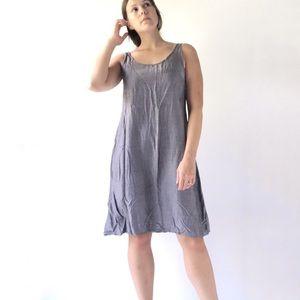 Grizas Silver A-Line Silk Pullover Dress